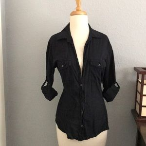 James Perse Signature Black Button Up